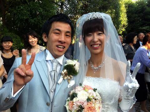 手塚啓介さん(4級)・由希子さん(6級) 結婚式 テコンドー演武