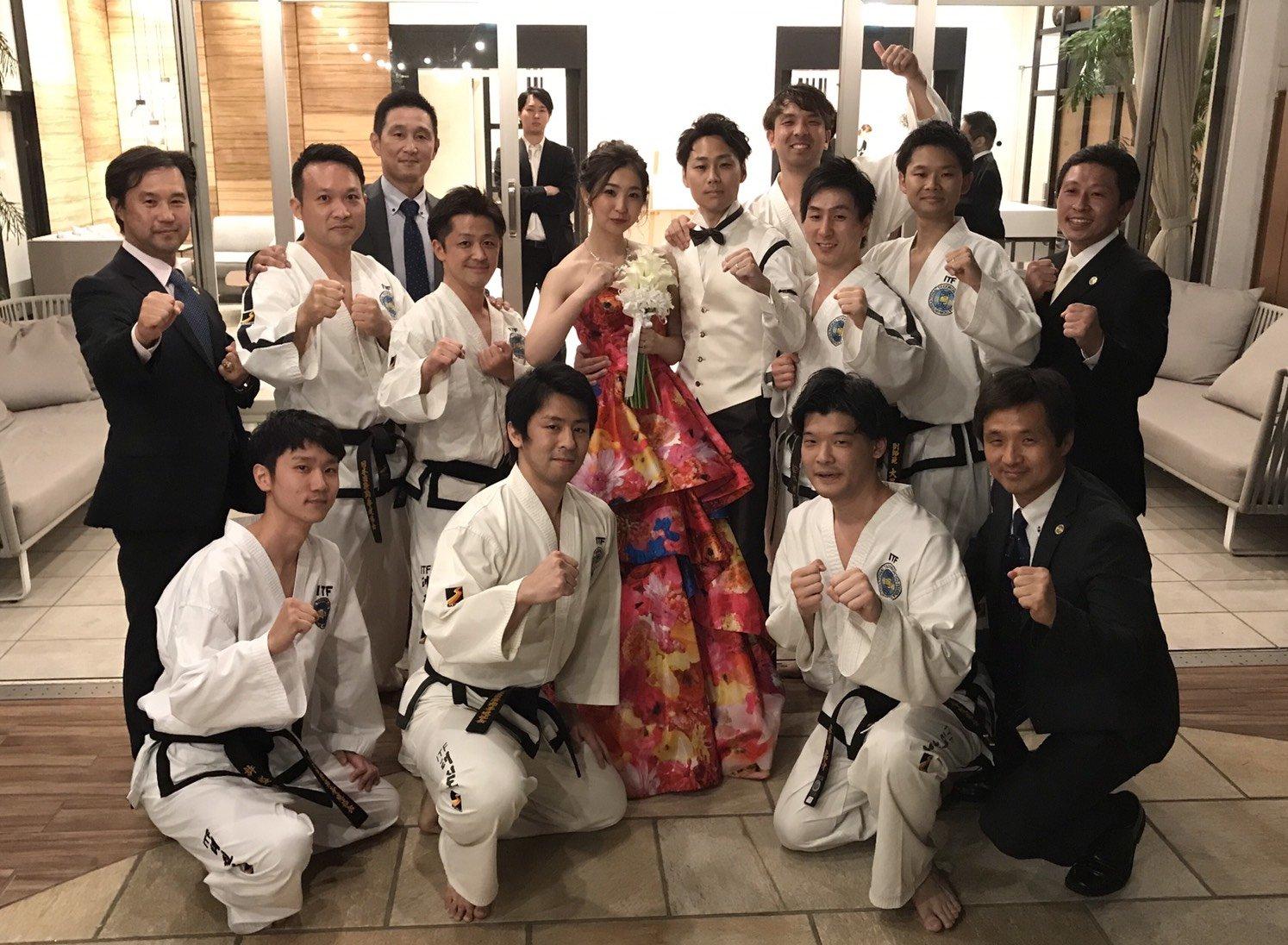 竹内純3段結婚式 テコンドー演武